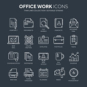 Business and office work. Documents, paperwork. Businessman. Thin line blue web icon set. Outline icons collection. Vector illustration