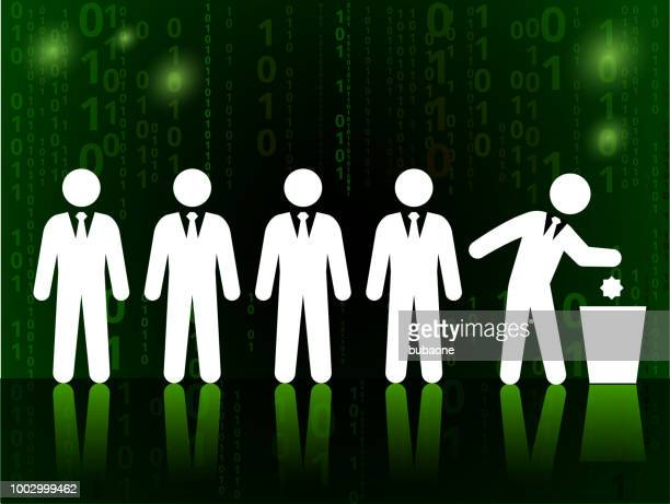Business and Recycling on Binary Code Black Background