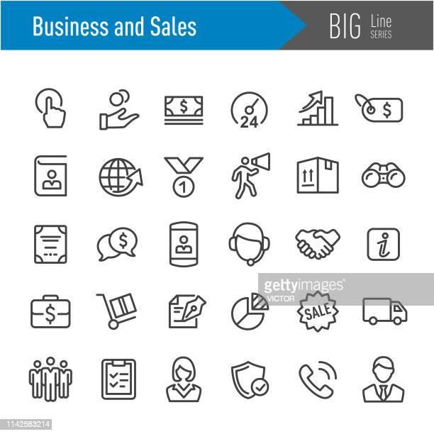 ビジネスとセールスのアイコン-ビッグラインシリーズ - 24時間営業点のイラスト素材/クリップアート素材/マンガ素材/アイコン素材