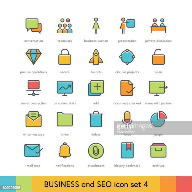business and seo icon set 4 - filing cabinet stock illustrations, clip art, cartoons, & icons