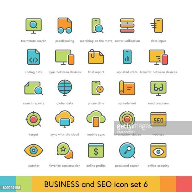 business and seo icon set 6 - proofreading stock illustrations, clip art, cartoons, & icons