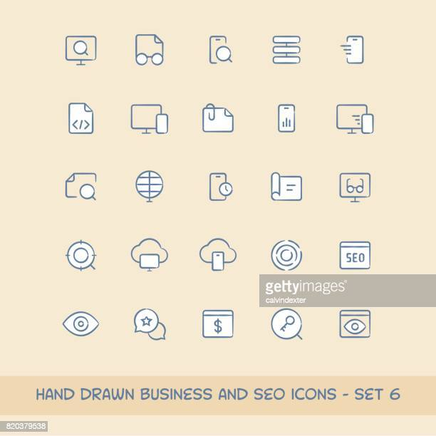 business and seo icons set 6 - proofreading stock illustrations, clip art, cartoons, & icons