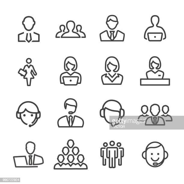 business and service icons - line series - employee stock illustrations