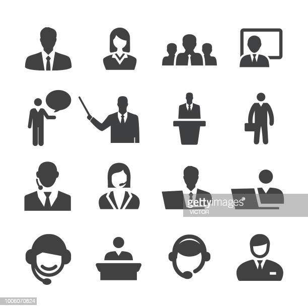 business and service icons set - acme series - assistant stock illustrations, clip art, cartoons, & icons