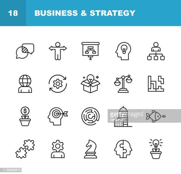 business and strategy line icons. editable stroke. pixel perfect. for mobile and web. contains such icons as business strategy, business management, time management, office building, corporate development. - flexibility stock illustrations