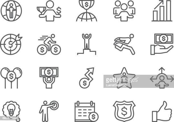 stockillustraties, clipart, cartoons en iconen met pictogrammen voor bedrijfs- en succeslijn | eps 10 - winners podium