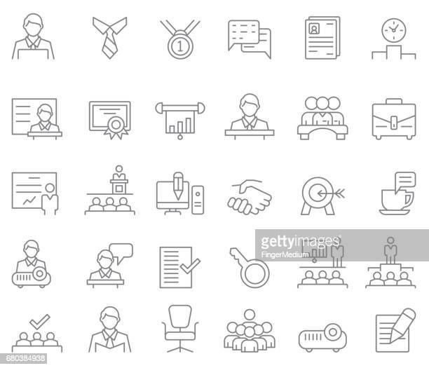 illustrations, cliparts, dessins animés et icônes de entreprise et formation jeu d'icônes - profession supérieure ou intermédiaire