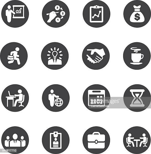 business and workflow circle silhouette icons | eps10 - group of animals stock illustrations, clip art, cartoons, & icons