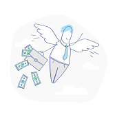 Business angel, investor, businessman flying with wings - Vector illustration