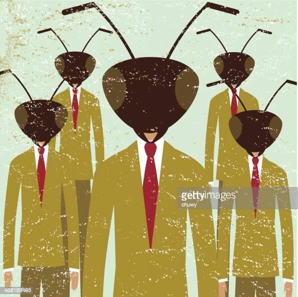 illustrations, cliparts, dessins animés et icônes de fourmi d'affaires hommes équipe de direction de la société - fourmi