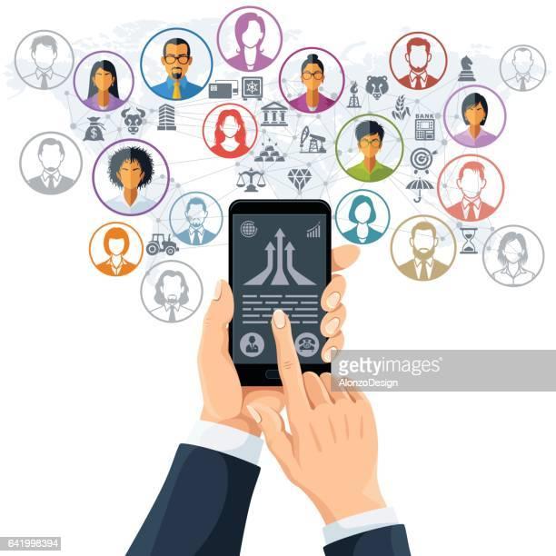 business app - kundenbeziehungsmanagement stock-grafiken, -clipart, -cartoons und -symbole