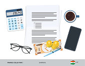 Business attributes with 200 Indian Rupee Banknote. Flat style vector illustration. Corporate business concept.