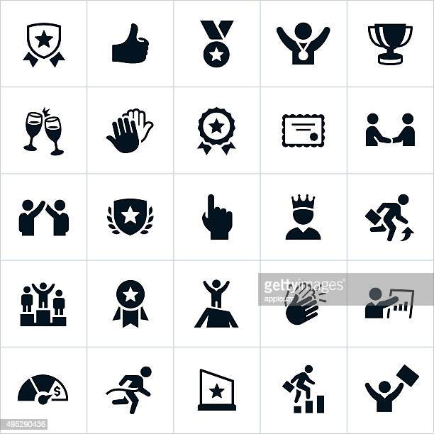 business award and recognition icons - motivation stock illustrations, clip art, cartoons, & icons
