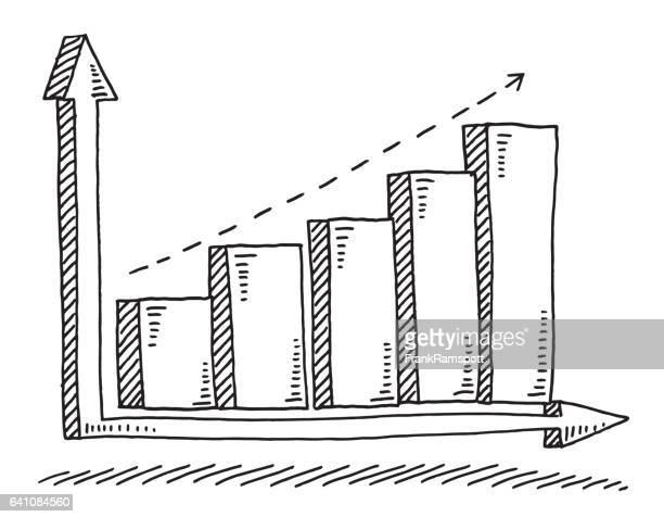 business bar chart erfolg zeichnung - balkendiagramm stock-grafiken, -clipart, -cartoons und -symbole