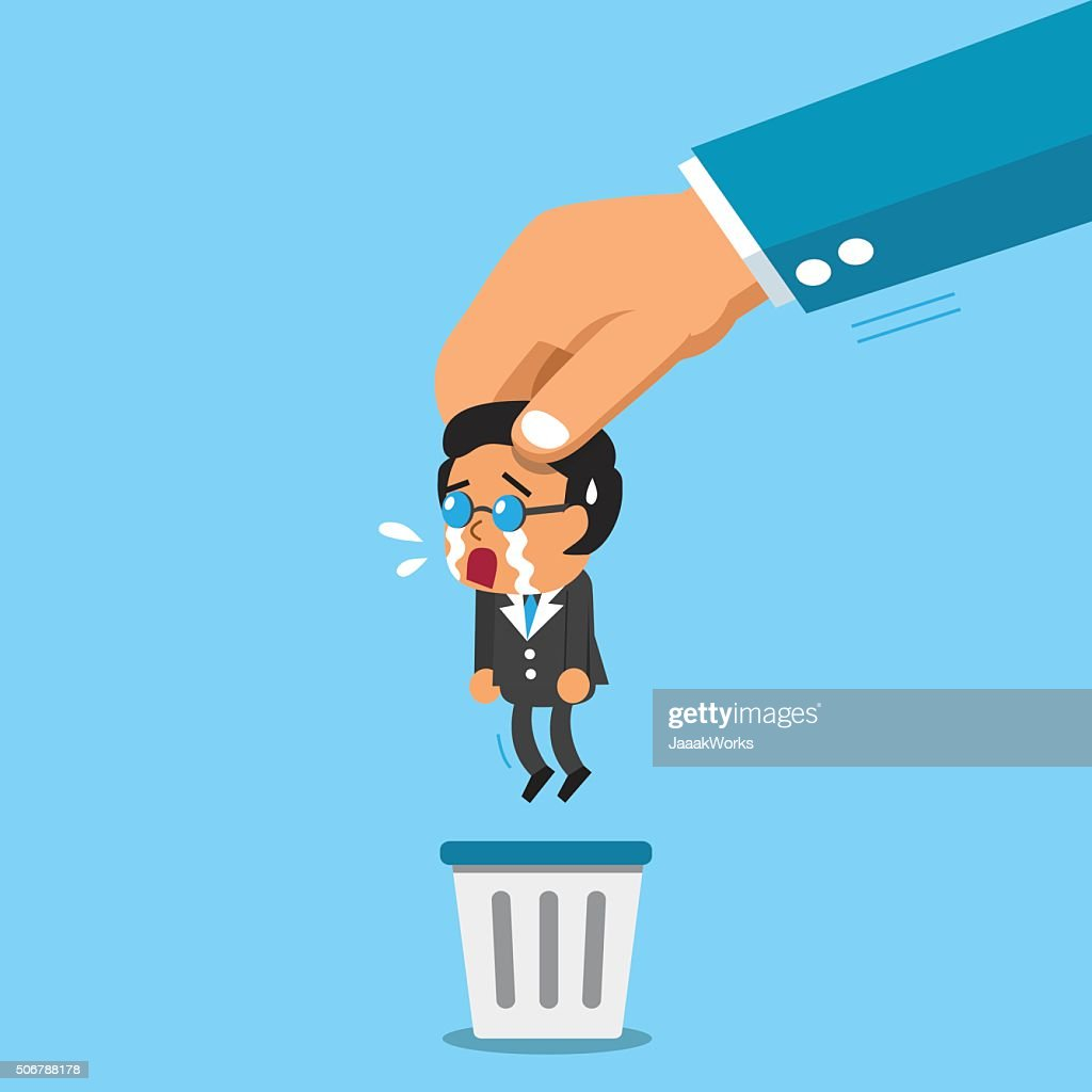 Business big hand throwing a businessman to trash bin