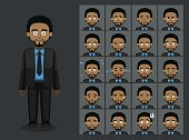 Business Black Man Cartoon Emotion faces Vector Illustration