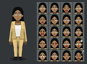 Business Black Woman Cartoon Emotion faces Vector Illustration