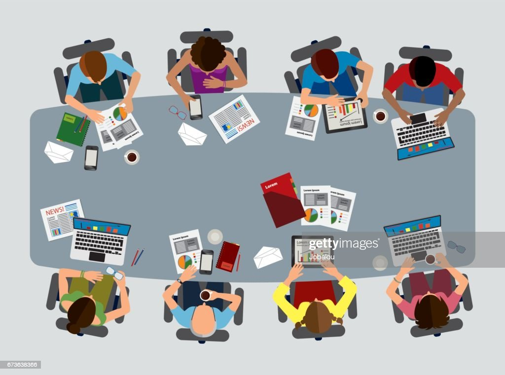 Business Brainstorming Reunion Top View : stock illustration