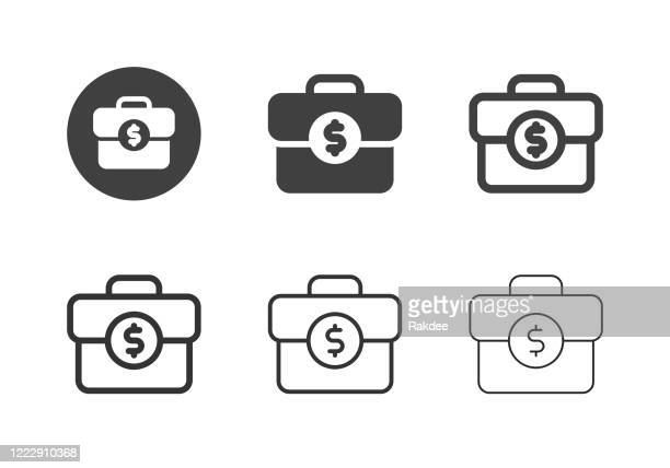 business briefcase icons - multi series - fashion collection stock illustrations