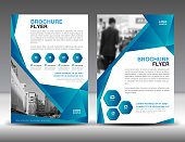 Business brochure flyer template vector illustration, Blue cover design, annual report cover, magazine ad, advertisement, corporate layout, company profile, newsletter, newspaper, printing medea, book, booklet, polygonal background