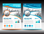 Business brochure flyer template vector illustration, Blue cover design, annual report cover, magazine ad, advertisement, corporate layout, company profile, newsletter, newspaper, printing medea, book, booklet, Abstract background