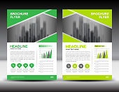 Business brochure flyer template vector illustration, Green cover design, annual report cover, magazine ad, advertisement, corporate layout, company profile, newsletter, newspaper, printing medea, book, booklet, Abstract background