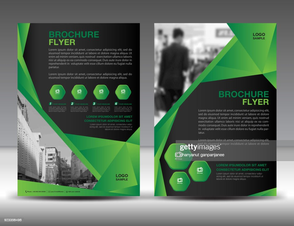 Business brochure flyer template vector illustration, Green cover design, annual report cover, magazine ad, advertisement, corporate layout, company profile, newsletter, newspaper, printing medea, book, booklet, polygonal background