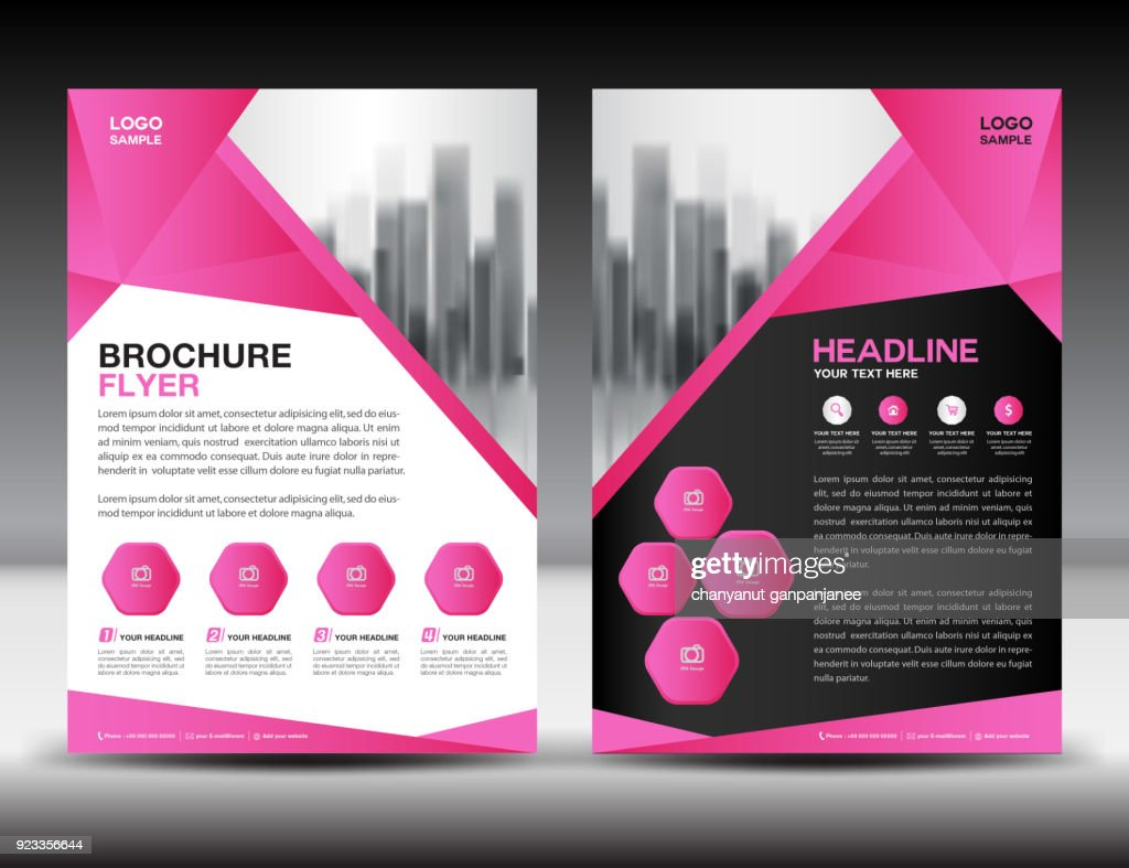 Business brochure flyer template vector illustration, Pink cover design, annual report cover, magazine ad, advertisement, corporate layout, company profile, newsletter, newspaper, printing medea, book, booklet, polygonal background