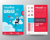 business brochure flyer template with businessman sitting on cloud network