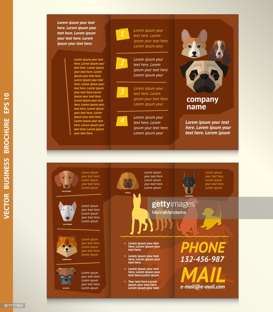 Business brochure template with face of dogs, vector design.