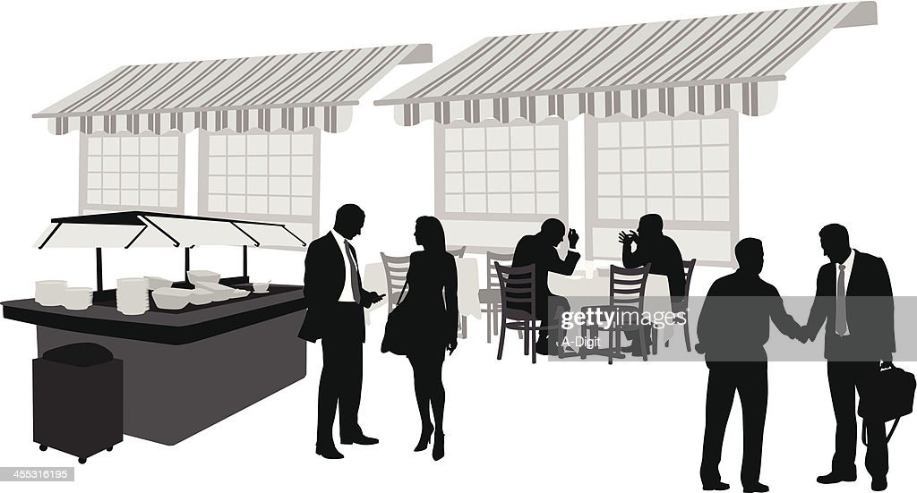 Business Buffet Vector Silhouette : stock illustration