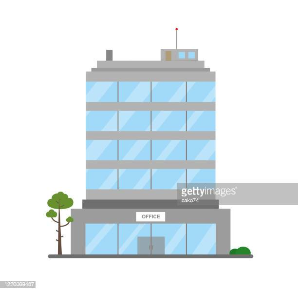 business building flat design - office block exterior stock illustrations