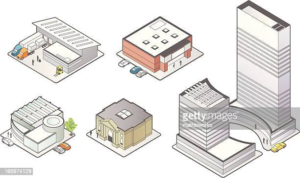 business building icons - mathisworks architecture stock illustrations