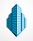 Business building, modern architecture vector illustration. Real estate realty office center design. 3D futuristic facade in big city. Can be used as icon.