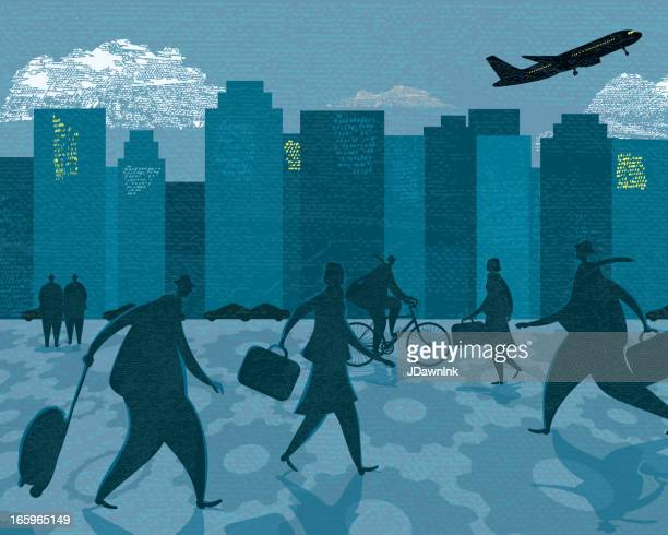 business bustling rush hour cityscape - commuter stock illustrations, clip art, cartoons, & icons