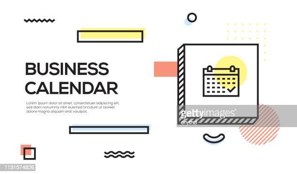 business calendar konzept. geometrisches retro style banner und poster-konzept mit business-kalender-icon - jährliches ereignis stock-grafiken, -clipart, -cartoons und -symbole