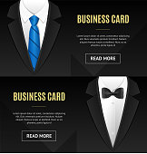 Business Card Bow Tie and Necktie Set. Vector