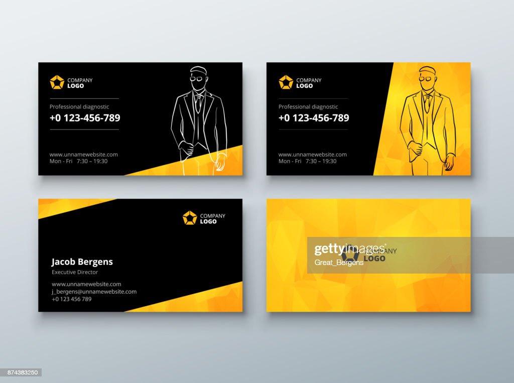 Visitenkartendesign Schwarz Gelb Businesskartevorlage Für Den ...