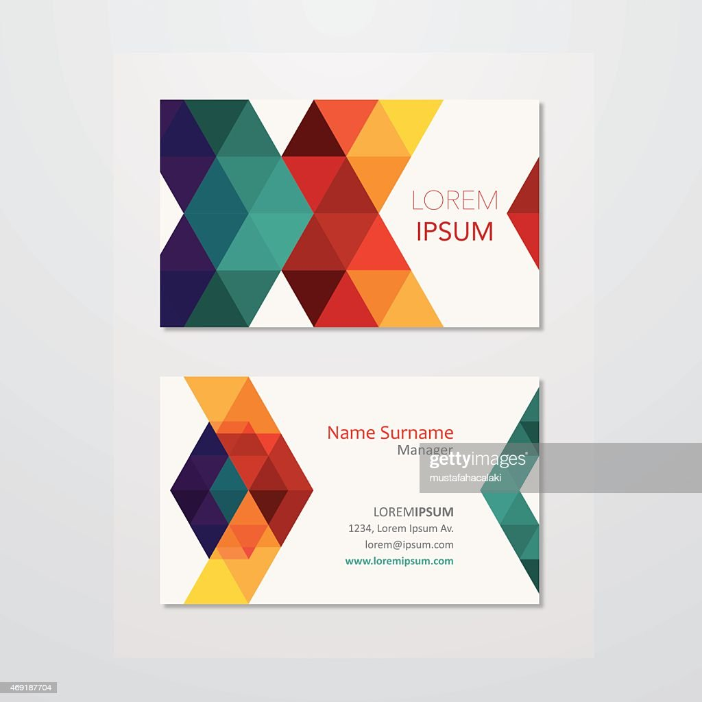 Business Card Design With Polygon Backgrounds Vector Art | Getty ...