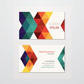 Business card design with colourful triangles