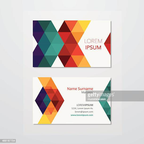 business card design with colourful triangles - triangle shape stock illustrations