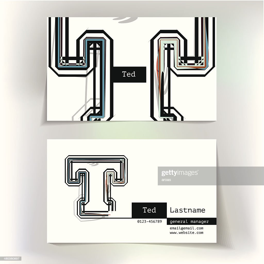 Business card design with letter T