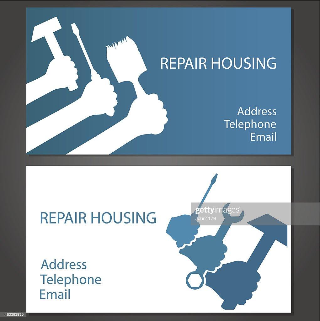Carte De Visite La Maison Reparation Clipart Vectoriel
