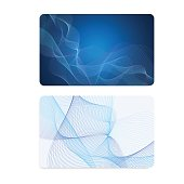 Business card, Gift card, coupon, (discount voucher) with Guilloche pattern (blue lines, watermark texture)