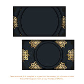 business card black with abstract gold