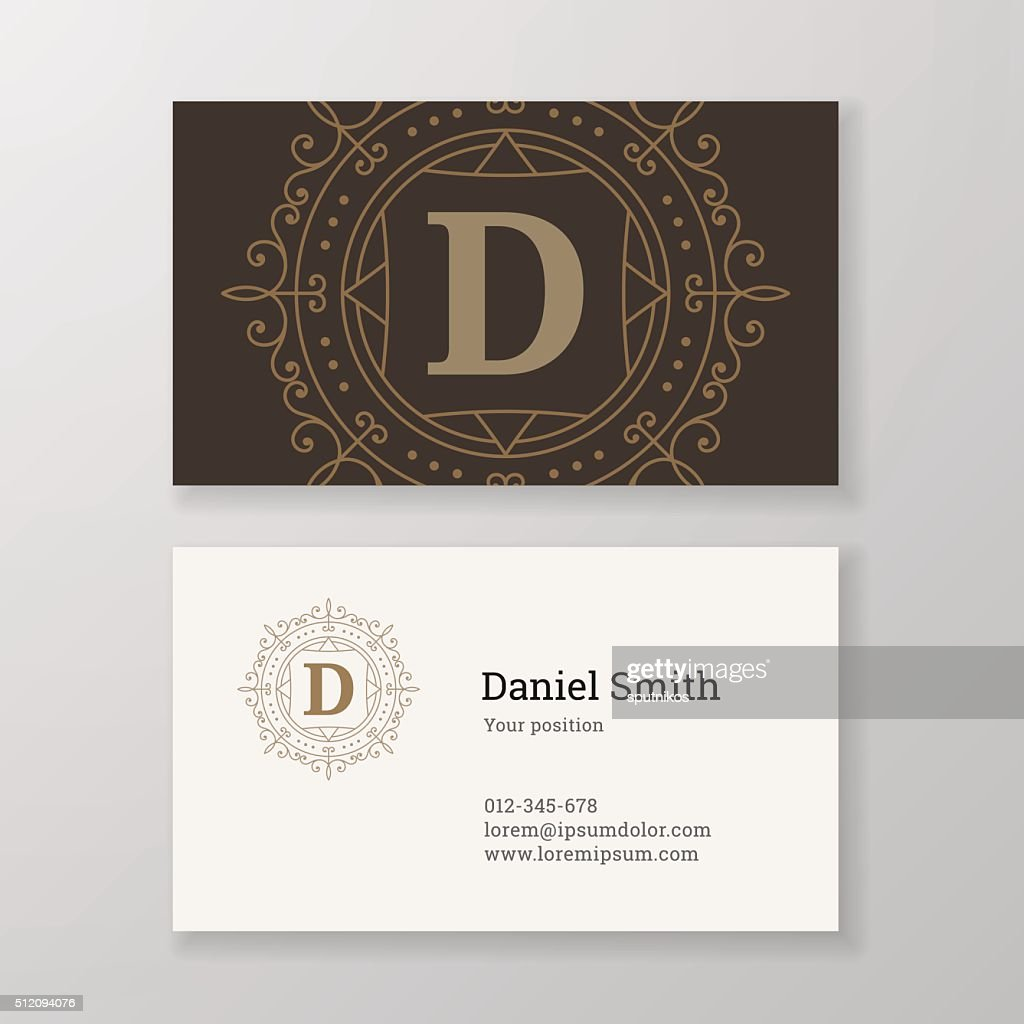 Business Card Monogram Emblem Letter D Template Design Vector Art ...