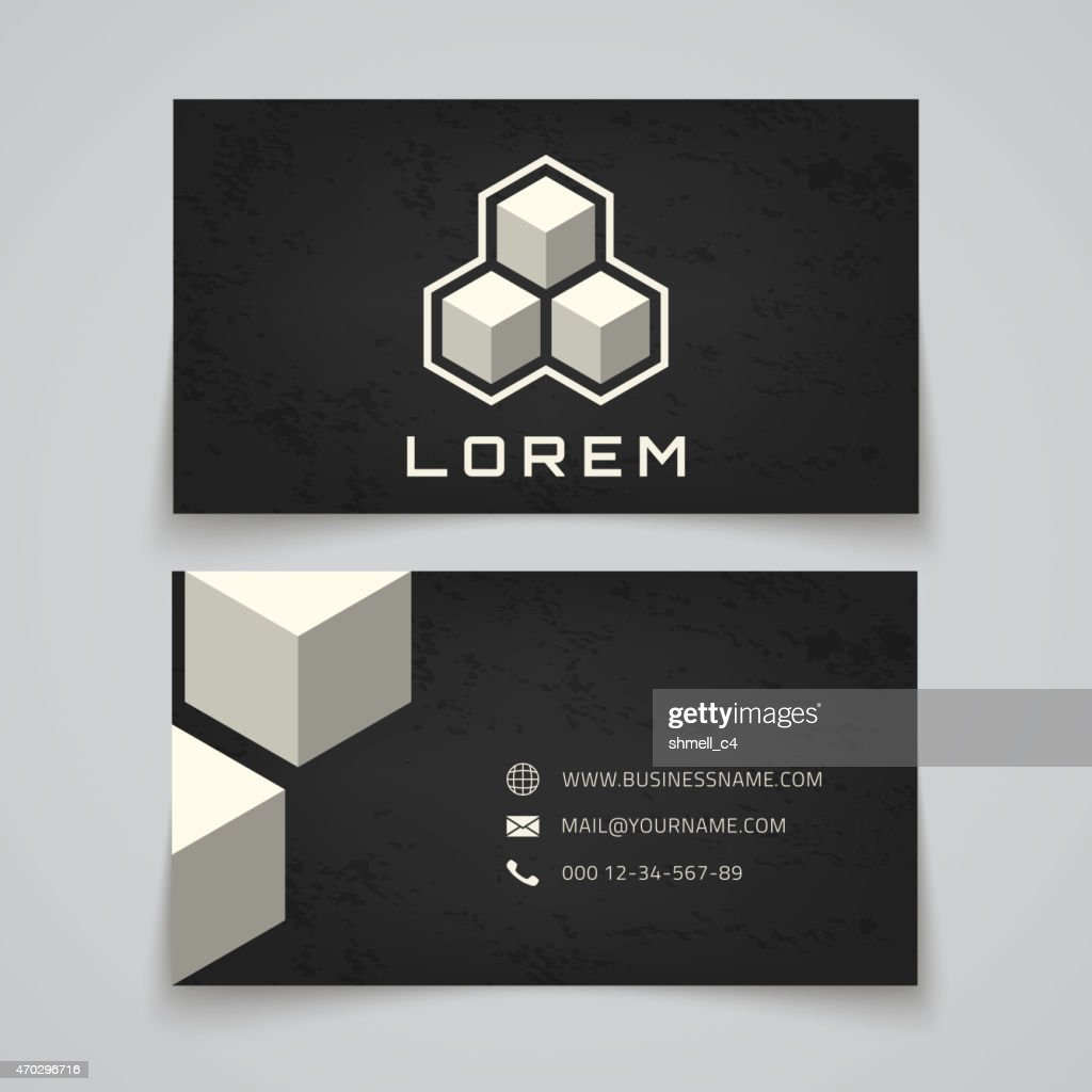 Business card template. Abstract cubes concept logo