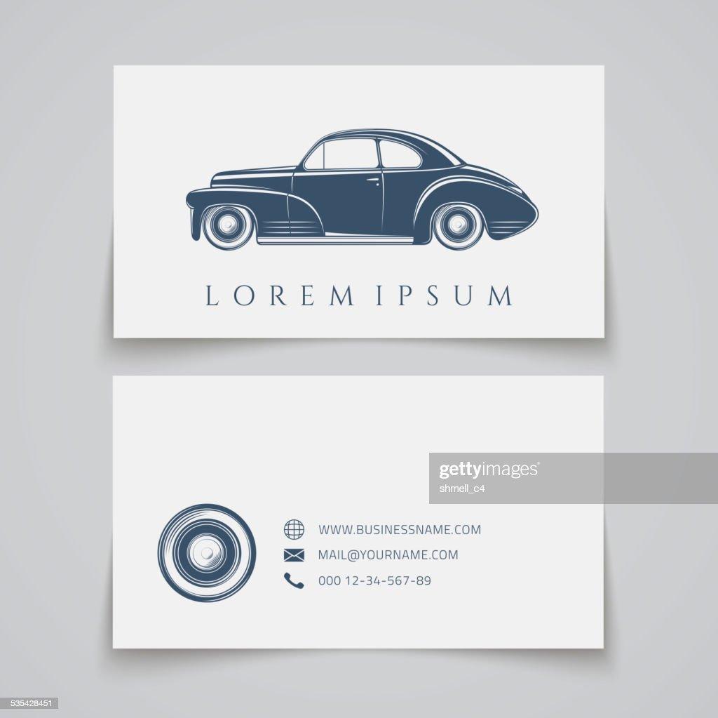 Business card template. Classic car logo