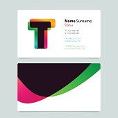 Business card template design with overlay T icon.