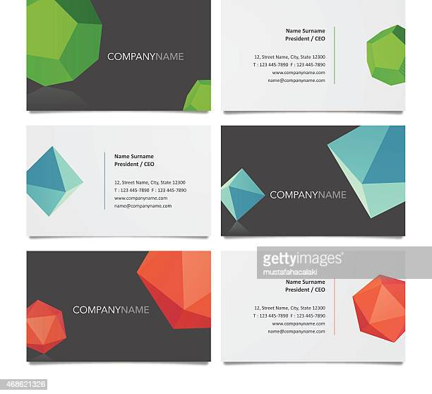 business card template design with solids - emerald gemstone stock illustrations